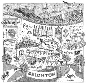 Illustrated map of Brighton for Jamie Oliver's Magazine