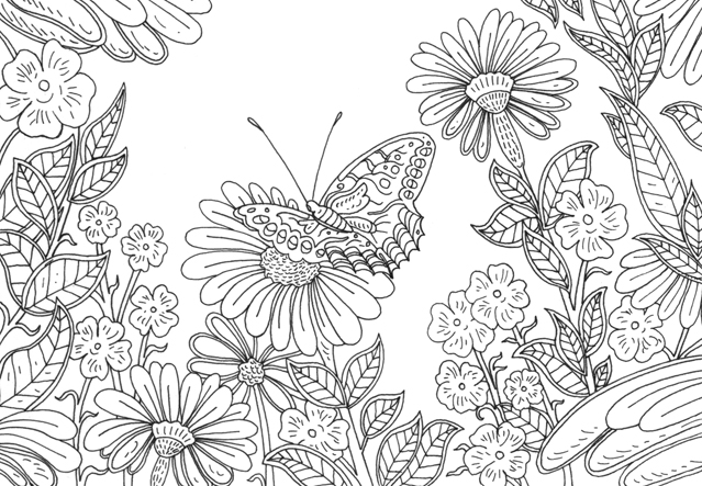 Illustration of butterfly with flowers