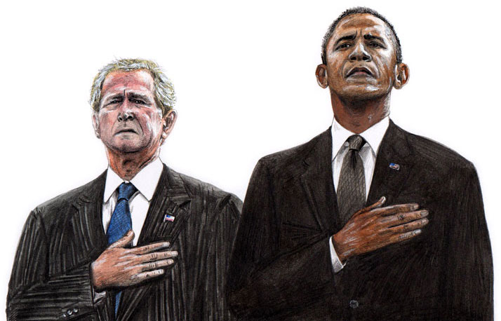Illustration of president Bush and illustration of president Obama