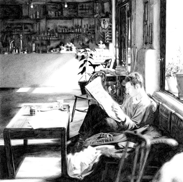 Otto Cafe Pencil Drawing by Emily Wallis