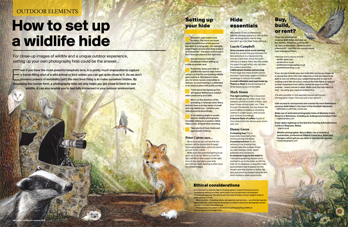 Outdoor Photography Magazine Illustration of a wildlife hide