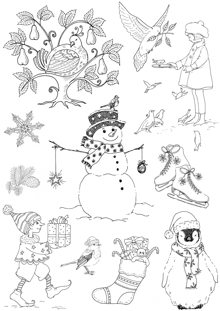 Christmas rubber stamp designs