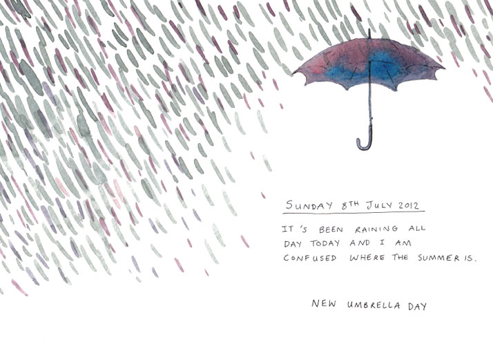 Illustration of an umbrella and rain