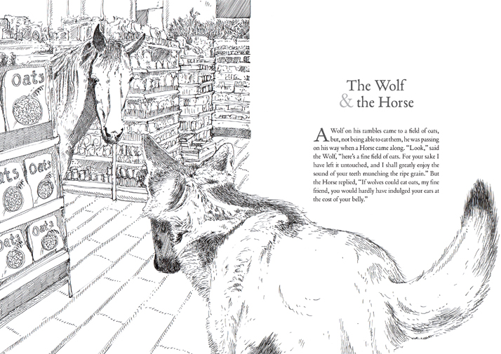 The wolf and the horse illustration of Aesop's animal fables