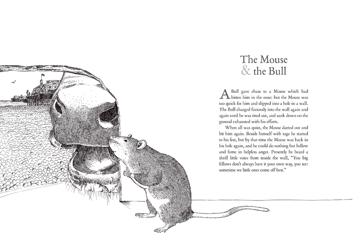 The mouse and the bull illustrated animal fable