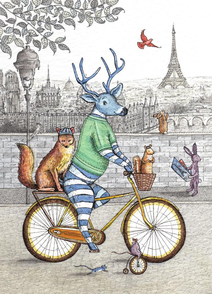 card design of a deer riding a bike in Paris