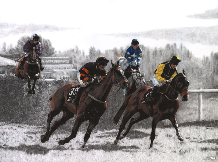 Horse race equine illustration