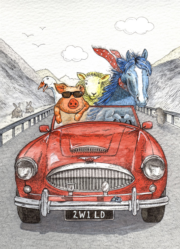 Card illustration of animals in a sports car