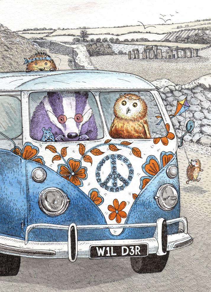 Illustrated animal card design of a VW van