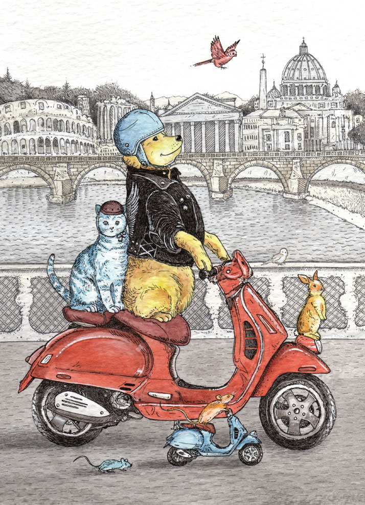 Illustrated animal greeting card design of a dog riding a vespa