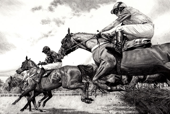 Equine illustration of horses with jockeys