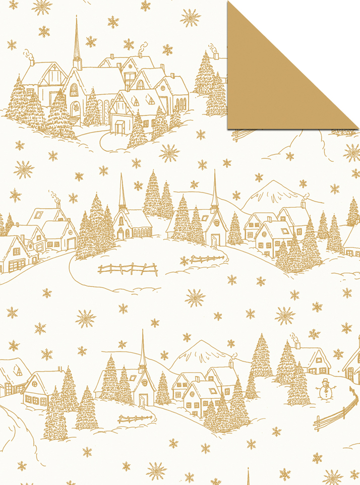 winter village wrapping paper design by Emily Wallis