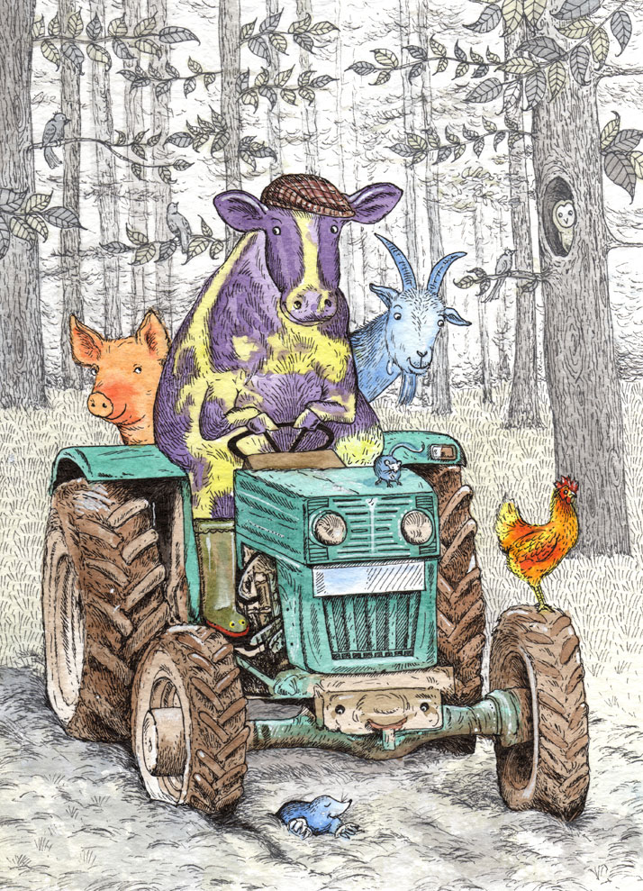 The Art File Greeting card design of animals in a tractor by Emily Milne Wallis