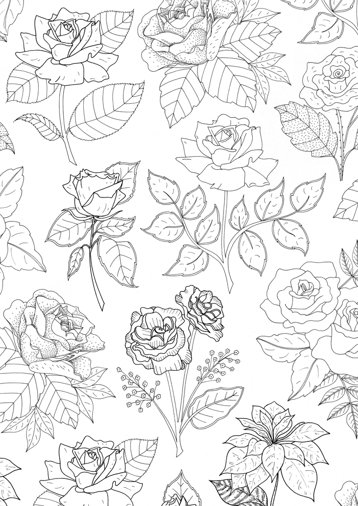 Illustration of flowers for rubber stamps