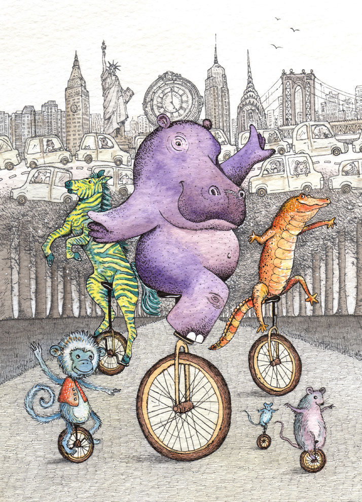 Art card of animals in new york on a unicycle