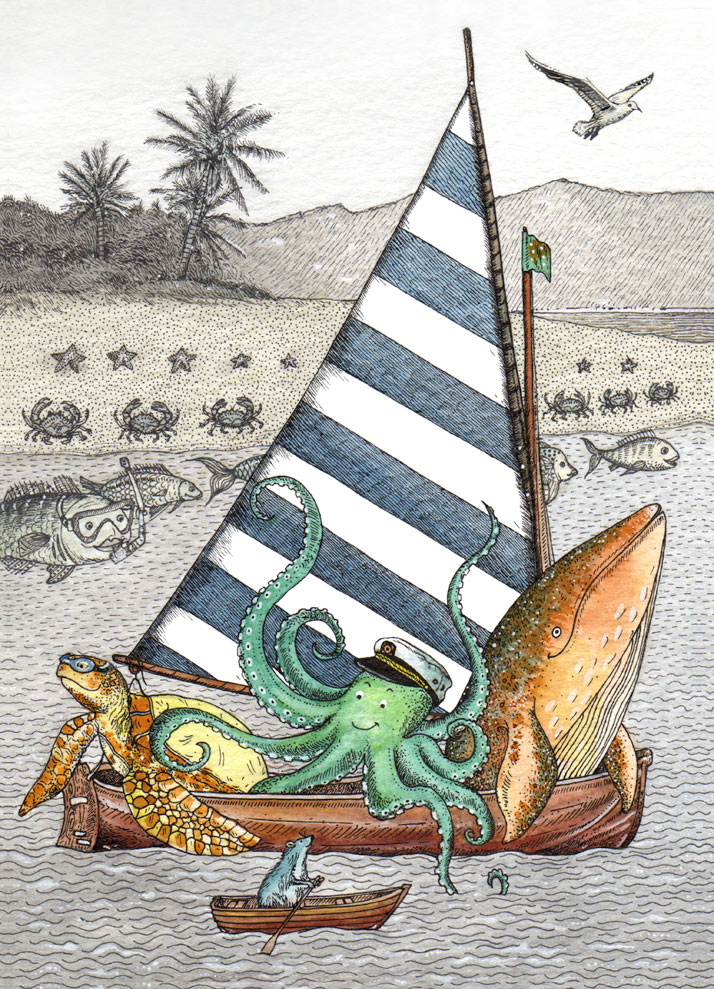 Illustrated card of animals in a boat