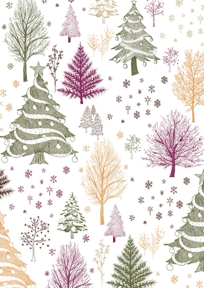 Christmas giftwrap Illustrated trees