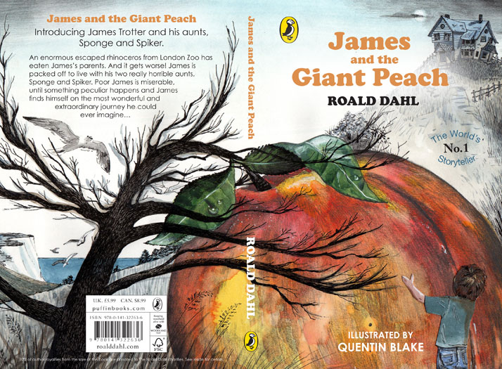 James and the Giant Peach book jacket front cover design