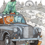 Animal on transport card illustration range called Wild Rides for The Art File card company