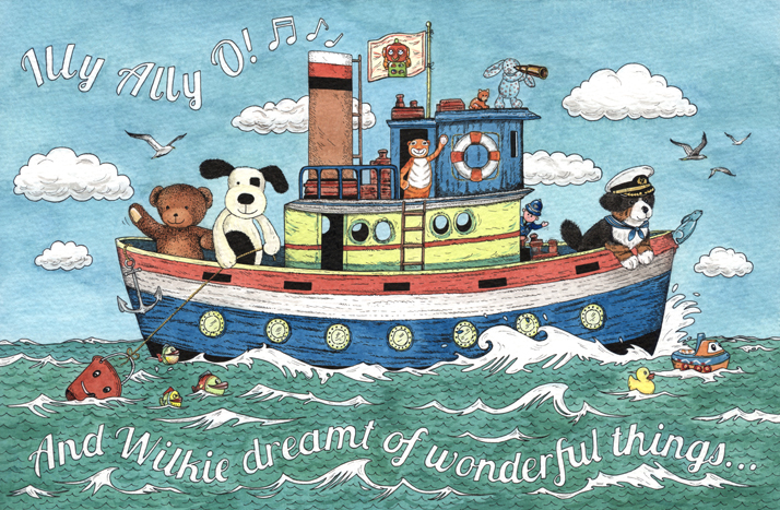 Illustration of toys on a boat on the Illy Ally O
