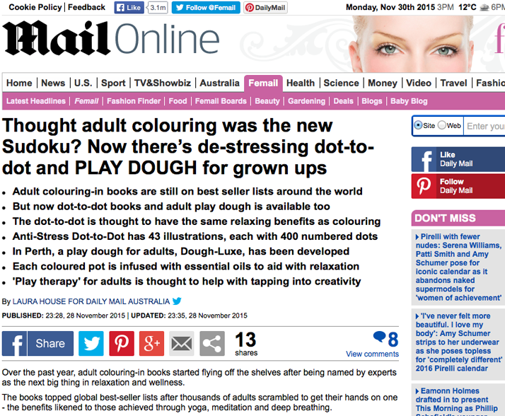 Anti-Stress Dot-to-Dot by Emily Wallis, Daily Mail Australia