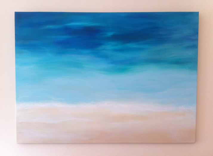 Beach painting acrylic paint on canvas by Emily Wallis