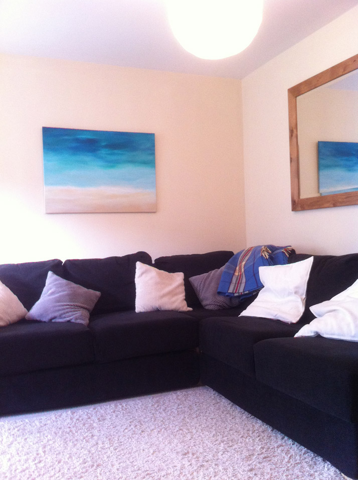Emily Wallis Beach Painting on canvas in living room