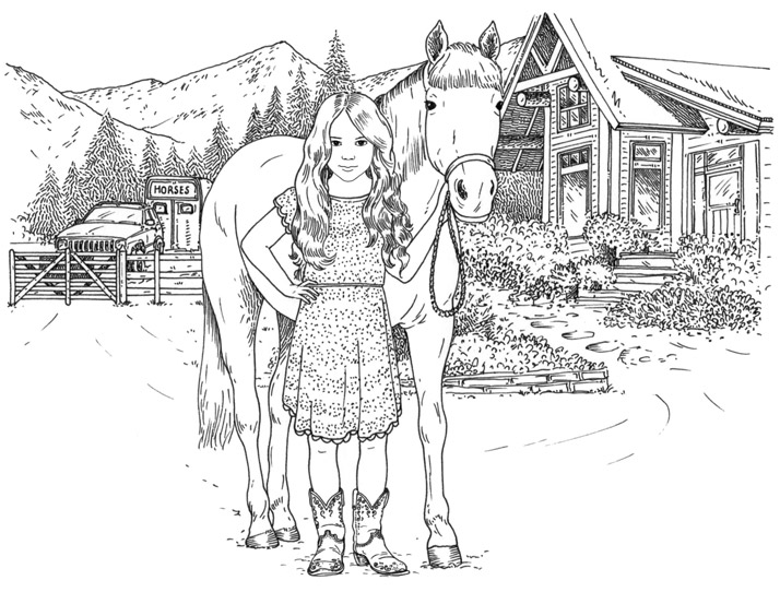 Silver Pony Ranch Black and White Illustration by Emily Wallis