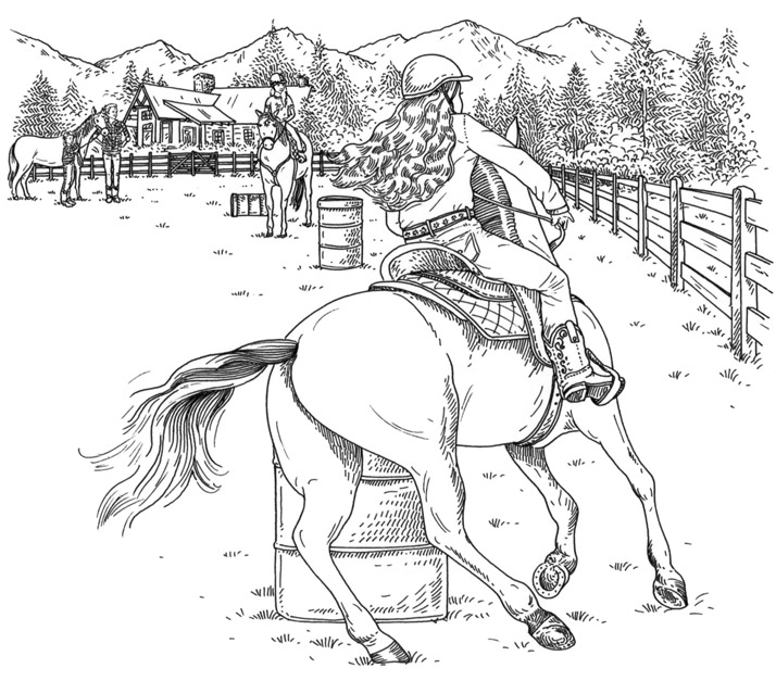 Emily-Wallis-Sweet-Buttercup-Interior-Illustration-barrel racing