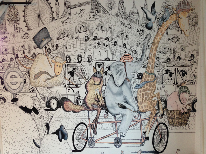 Wall Art Illustration Animals on bike