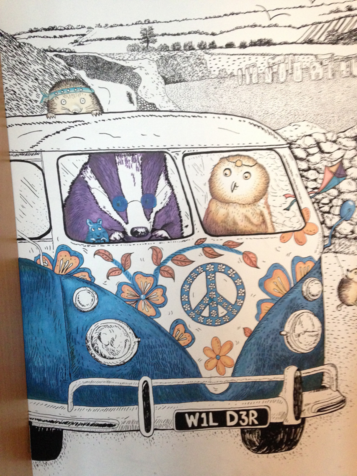 Wall Art Illustration Mural Animals in VWVan