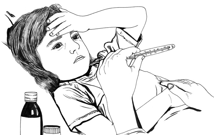 Child with Fever illustration