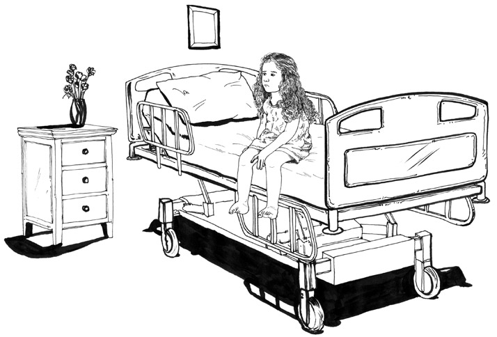 Child on hospital bed illustration
