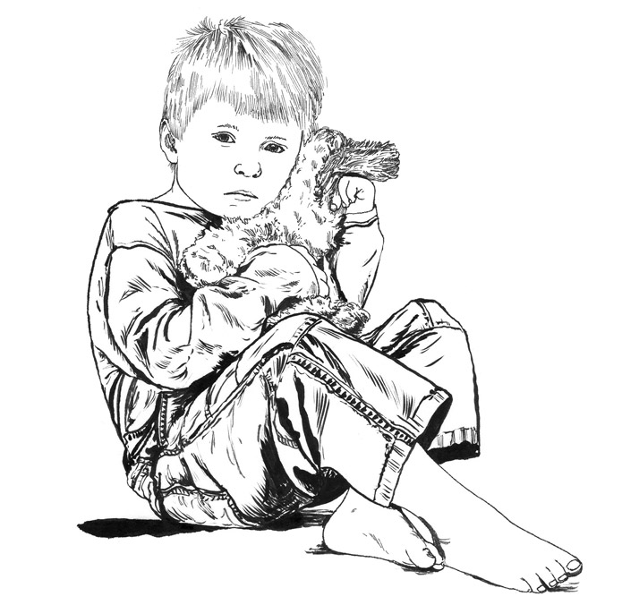 Child with teddy illustration