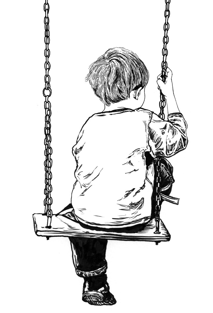 Child on swing illustration