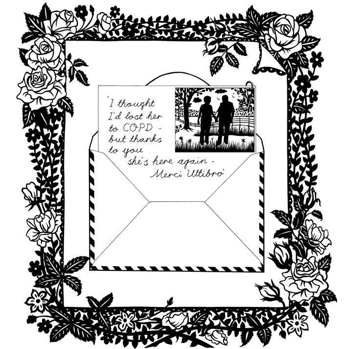 Illustrated border roses with envelope emily wallis
