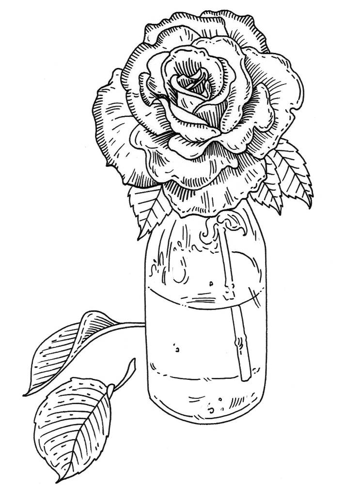 Flower rubber stamp design