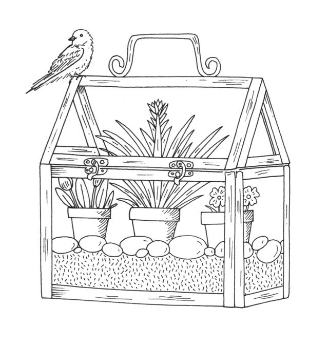Miniature Greenhouse Illustration with bird