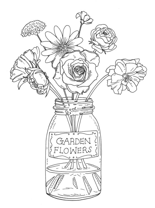 Garden Flowers in Jar