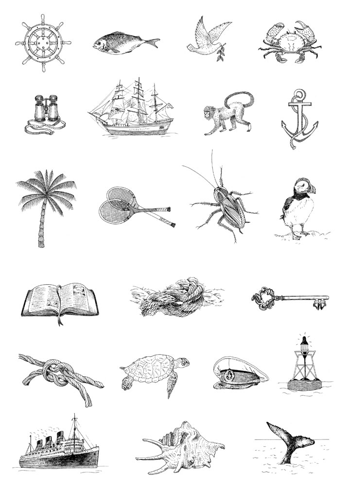 Illustrations for the beach rubber stamps