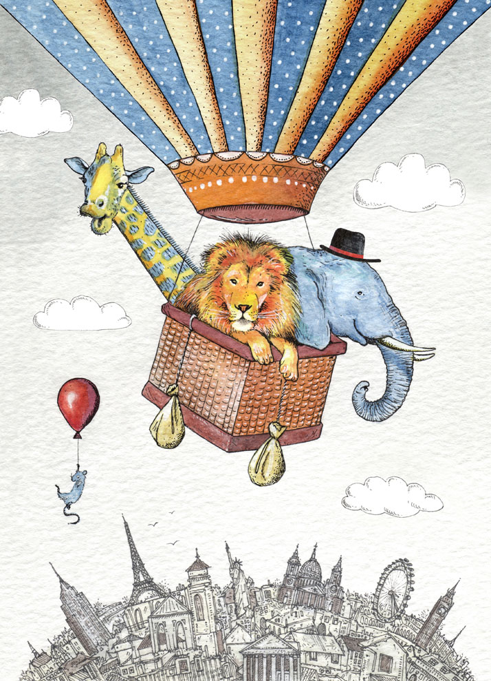Greeting card illustration of animals in a hot air balloon