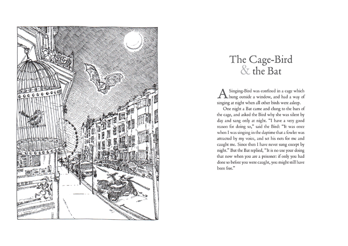 The cage-bird and the bat Illustrated Aesop's Fables