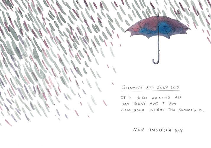 Illustration of an umbrella and rain