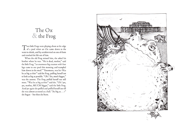 the ox and the frog illustration by Emily Wallis