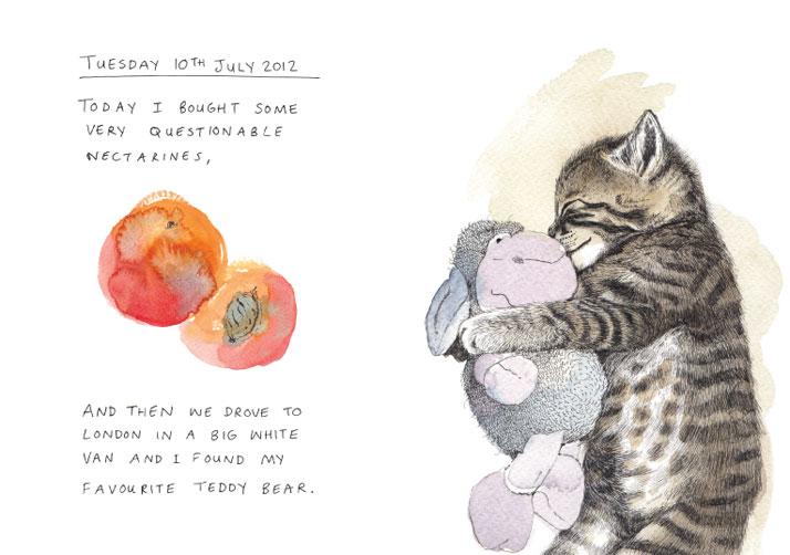 Illustration of a cat hugging a teddy bear