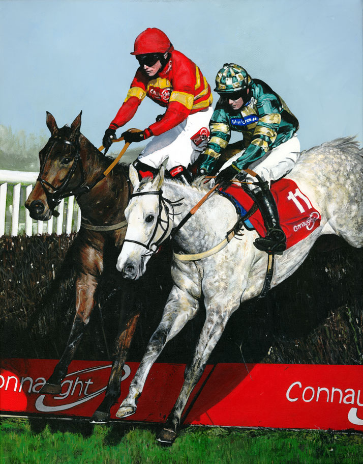 Painting of two horses jumping
