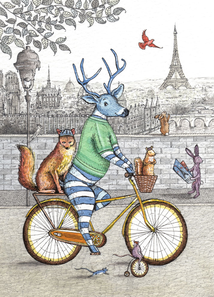 card design of a deer riding a bike in Paris