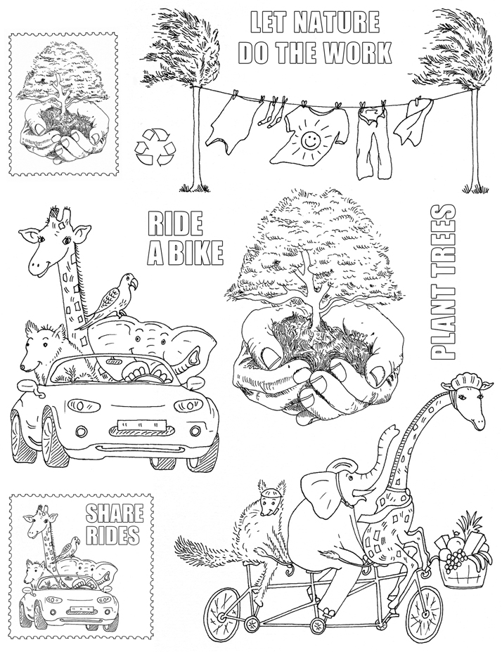 environment rubber stamp illustrations