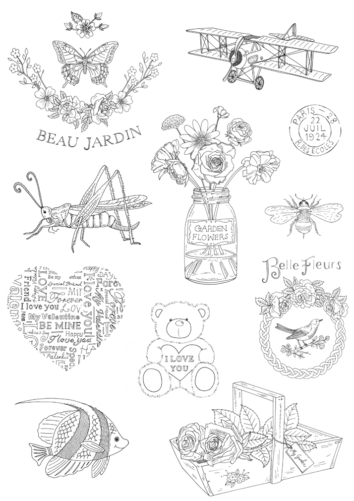 rubber stamp illustrations by Emily Wallis