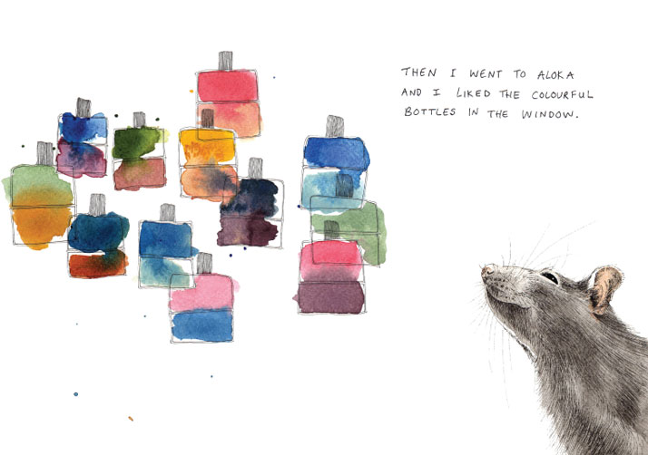 Illustration of colourful bottles and a mouse in watercolour